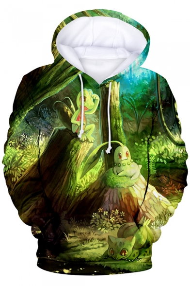 Fashion 3D Cartoon Printed Long Sleeve Casual Relaxed Green Hoodie