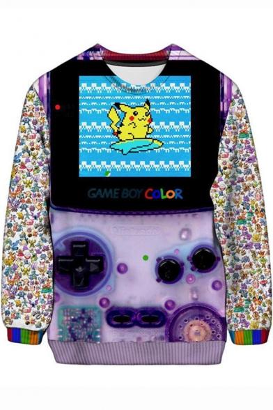 Pokemon Pikachu Gameboy 3D Printed Basic Round Neck Long Sleeve Pullover Sweatshirt