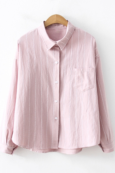 Simple Fashion Vertical Striped One Pocket Long Sleeve Button Shirt