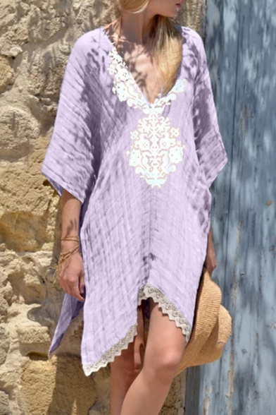 Summer Chic Lace-Panelled V-Neck Three-Quarter Sleeve Casual Loose Shift Linen Mini Dress for Holiday