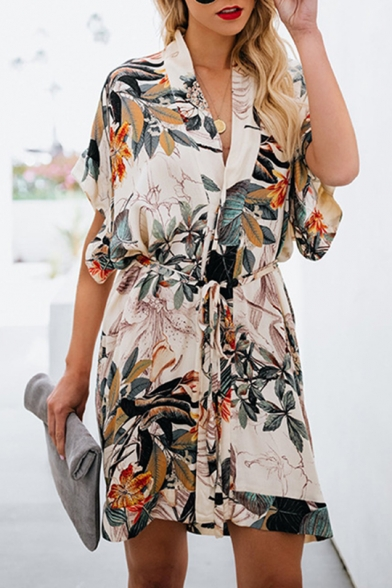 Summer Fashion Tropical Floral Printed V-Neck Short Sleeve Tied Waist Mini White Shirt Dress