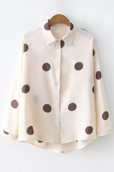 Vintage Polka-Dot Printed Long Sleeve Button Down Chiffon Shirt