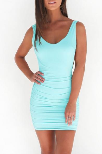 adb2c64a4a325 Women's Summer Sexy V-Neck Sleeveless Plain Bodycon Mini Tank Dress