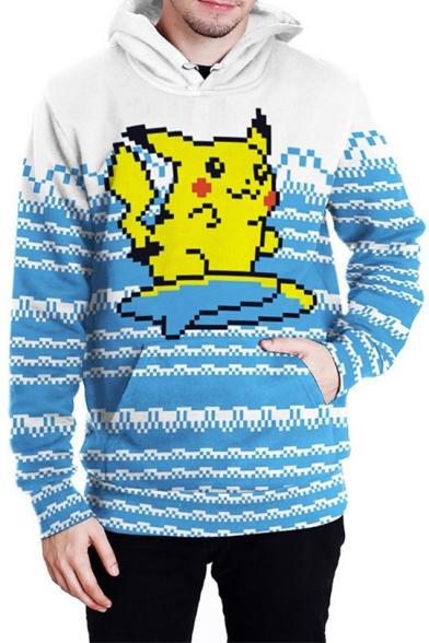 Lovely Cartoon Pikachu Printed Long Sleeve Blue Pullover Hoodie
