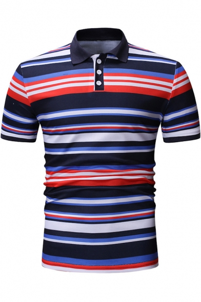 263c2561218a Men's Trendy Colorful Striped Print Short Sleeve Regular-Fit Casual Polo  Shirt ...