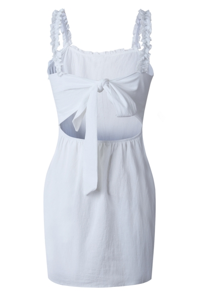 New Stylish Ruffled Hem Button Front Bow-Tied Back Plain Mini Pencil Dress