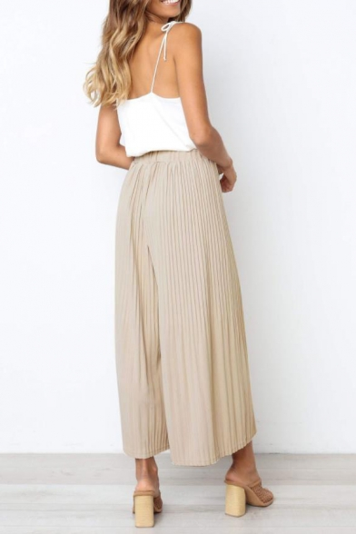 New Trendy Simple Plain Elastic Waist Pleated Wide-Leg Pants for Women