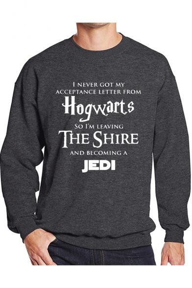 Popular Letter HOGWARTS Pattern Basic Long Sleeve Crewneck Pullover Leisure Sweatshirt