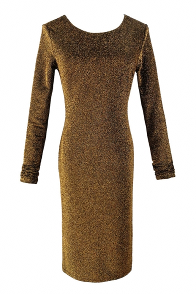 Round Neck Long Sleeve Twist V Back Midi Sequined Pencil Dress for Women