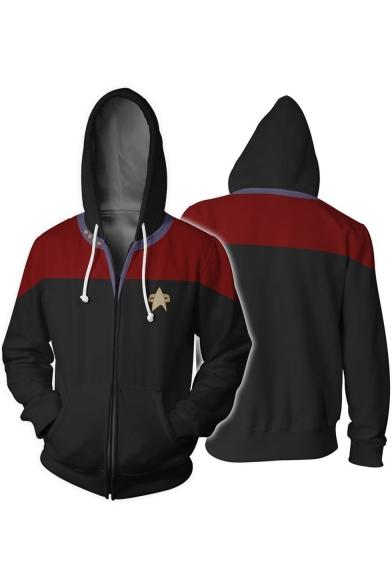 Star Trek Logo Print 3D Colorblocked Cosplay Costume Zip Up Drawstring Hoodie