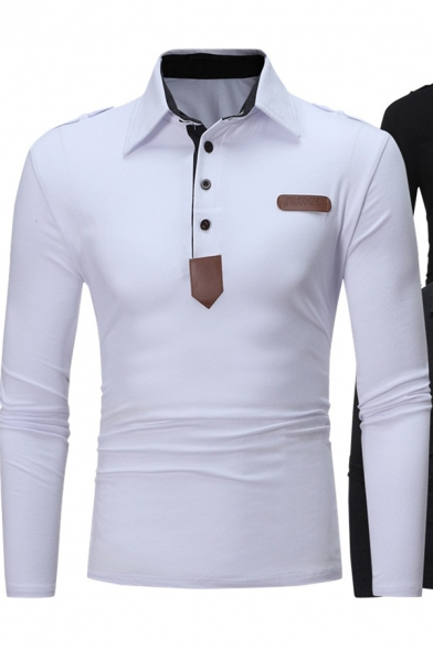 628ac4d0b Stylish Leather Patched Long Sleeve Solid Color Men's Slim Fitted Polo