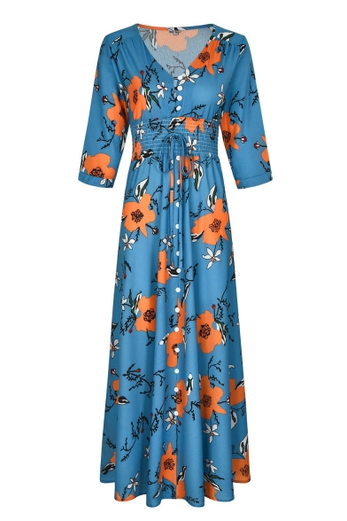 Summer Blue Floral Printed V-Neck Three-Quarter Sleeve Button Front Maxi Boho Dress