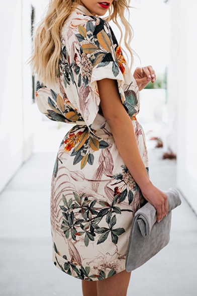 Summer Fashion Tropical Floral Printed V-Neck Short Sleeve Tied Waist Mini White Shirt Dress