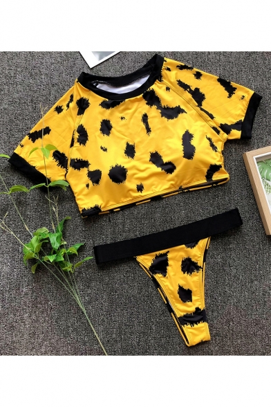 Trendy Leopard Printed Crewneck Short Sleeve Cropped Top High Waist Bottom Slim Sport Swimwear