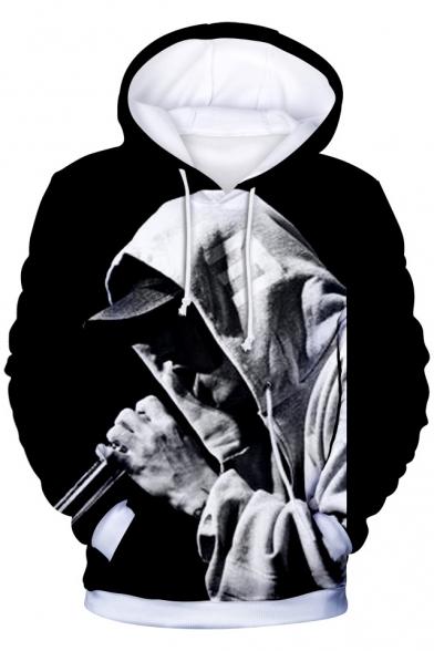 3D Rapper Eminem Pattern Basic Long Sleeve Loose Casual Drawstring Hoodie
