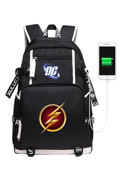 44*30*15cm Popular The Flash Logo Print Creative USB Charging Black Backpack