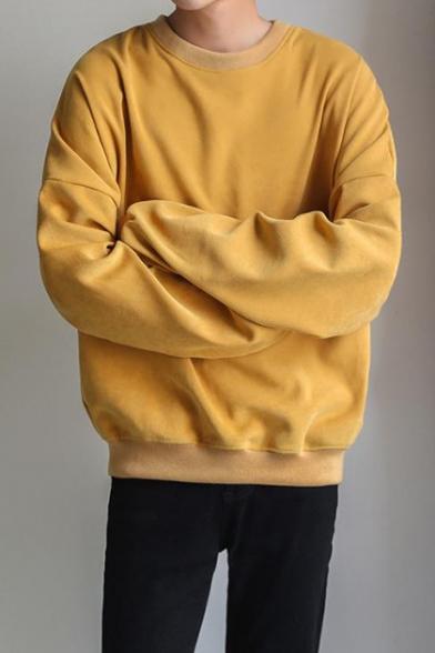 Basic Simple Plain Round Neck Long Sleeve Oversized Pullover Sweatshirt