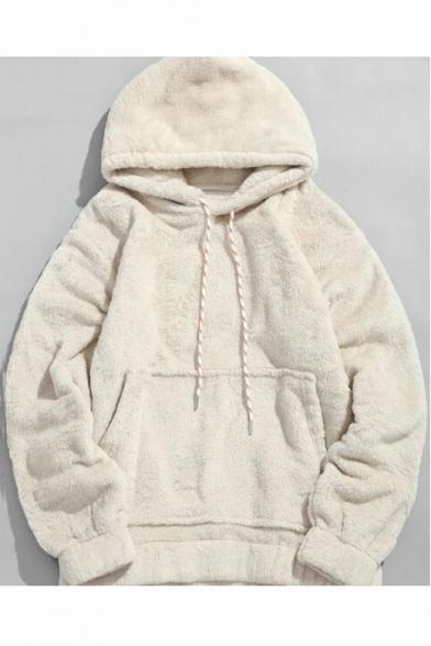 Beige Fashion Simple Plain Kangaroo Pocket Warm Fluffy Shearling Loose Drawstring Hoodie
