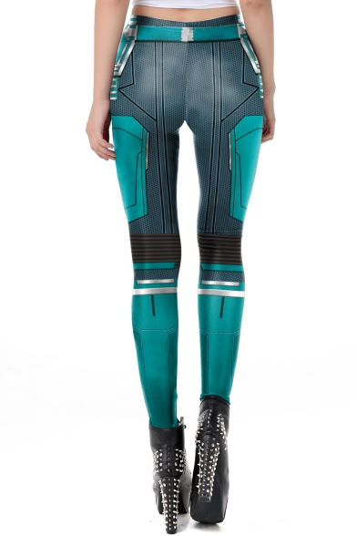 Fashion 3D Printing Cosplay Costume Skinny Fit Leggings in Blue