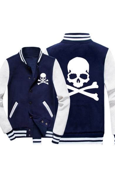 Fashion Skull Print Stand Collar Long Sleeve Button Down Colorblock Baseball Jacket