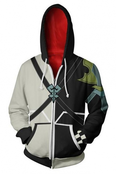 Kingdom Hearts Cosplay Costume Long Sleeve Fitted Black and White Zip Up Hoodie