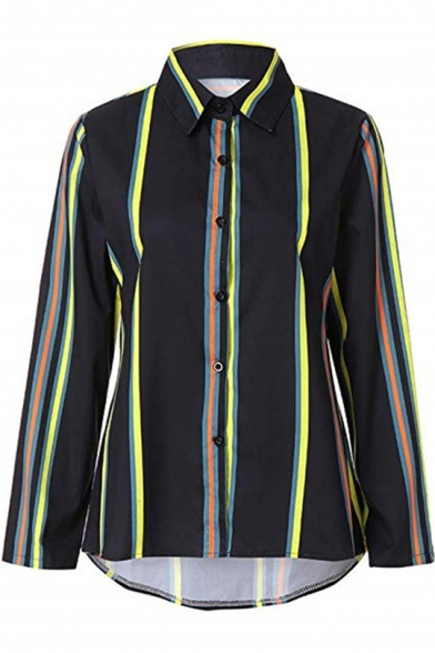 New Fashion Colorful Striped Printed Long Sleeve Button Down Shirt