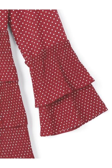 Retro Polka-Dot Printed V-Neck Flared Long Sleeve Layered Mini A-Line Cake Dress in Red