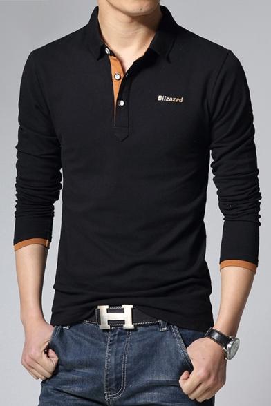 Simple Letter BILZAZRD Chest Turn-Down Collar Long Sleeve Slim Polo for Men