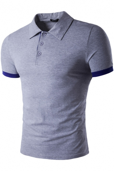 Stylish Contrast Trim Short Sleeve Three-Button Men Classic-Fit Polo