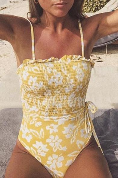 Summer Yellow Floral Printed Drawstring Waist Ruffle Trim One-Piece Swimwear