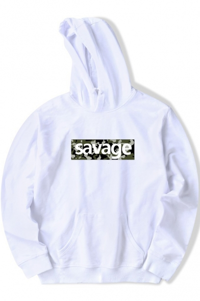 Unique Camo Letter SAVAGE Printed Long Sleeve Sport Loose Unisex Hoodie