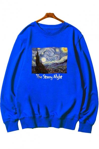 Van Gogh Oil Painting Galaxy Print Basic Crew Neck Long Sleeve Pullover Sweatshirt