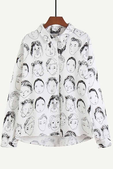 Vintage Face Portrait Print Long Sleeve Loose Casual Linen Shirt