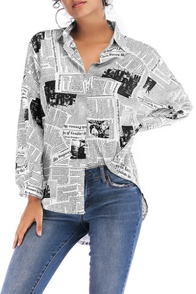 Vintage Newspaper Printed Long Sleeve High Low Hem Button Down Shirt