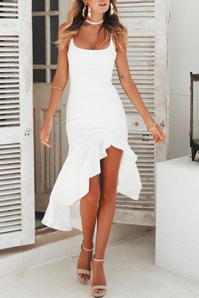 Women's Fashion Ruffled Hem Simple Plain Square Neck High Low Hem Slip Dress