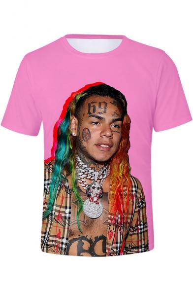 American Rapper 3D Figure Print Basic Round Neck Short Sleeve T-Shirt