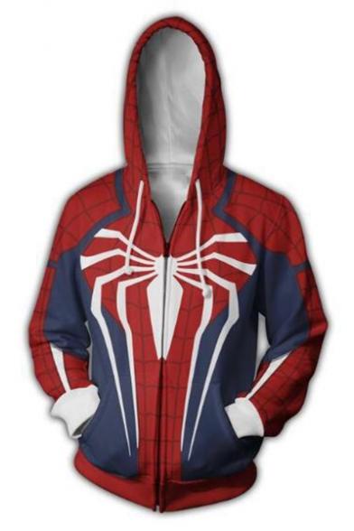 Cosplay Costume Spider-Man Printed Long Sleeve Full Zip Blue and Red Hoodie