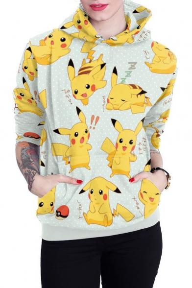 Lovely Cartoon Pikachu Printed Long Sleeve Light Blue Pullover Hoodie