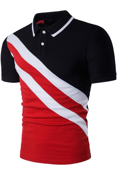 New Stylish Colorblocked Striped Turn-Down Collar Slim Fit Polo for Men