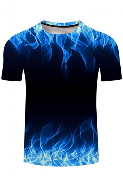 New Trendy 3D Blue Fire Printed Basic Crewneck Short Sleeve Black T-Shirt