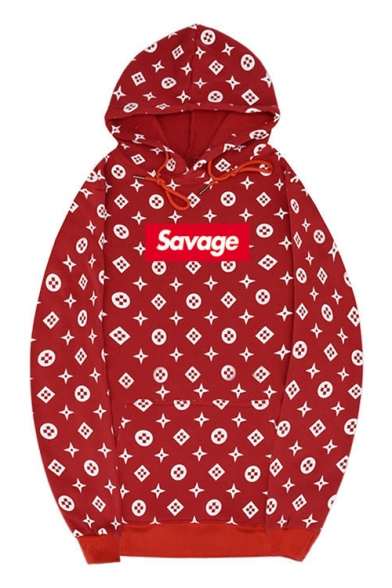 0c15c80f Simple Letter SAVAGE Allover Star Printed Sport Casual Loose Drawstring  Hoodie ...