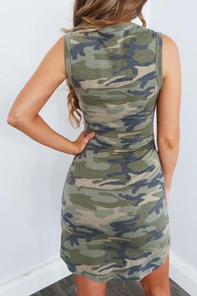Summer Cool Camo Pattern Round Neck Sleeveless Tied Waist Mini Army Green Tank Dress