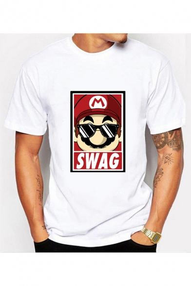 Summer Letter SWAG Mario Cartoon Print Short Sleeve Loose Fit T-Shirt