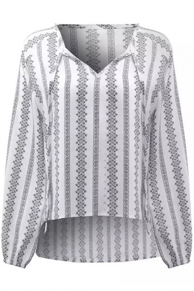 Summer New Trendy Ethnic Striped Print V-Neck Lantern Sleeve White Blouse