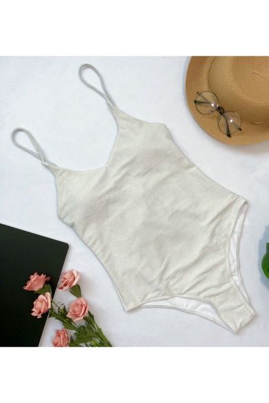 Summer Sexy Sequined Crisscross Back Slim Fit One-Piece Swimwear