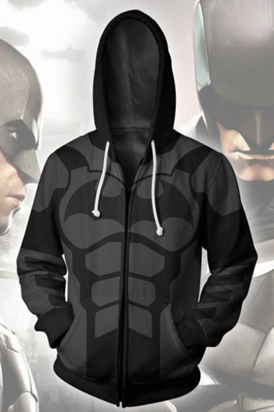Trendy 3D Cosplay Costume Long Sleeve Black Zip Up Hoodie