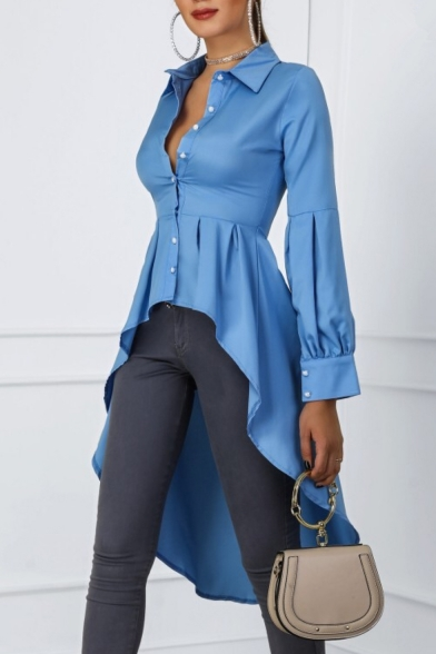 Women's Basic Simple Plain Dipped Hem Swallowtail Button Down Sky Blue Shirt