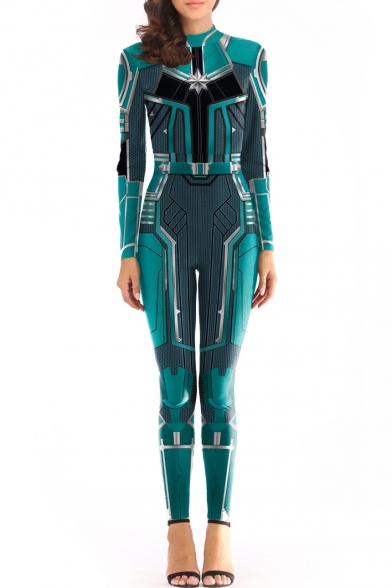 Cool 3D Print Long Sleeve Skinny Fit Blue Cosplay Jumpsuits for Women