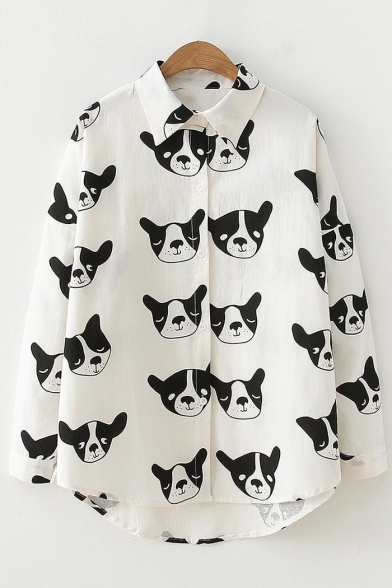 Girls Retro Allover Cartoon Dog Printed Long Sleeve Casual Relaxed Button Shirt