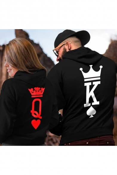 New Trendy Creative Crown King Queen Poker Print Black Hoodie for Couple